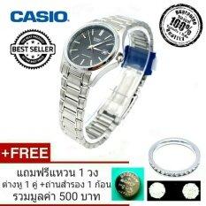 ขาย Casio นาฬิกาข้อมือผู้หญิง ของแท้ 100 รับประกัน 1 ปี สายสแตนเลสสีเงิน หน้าปัดสีดำ รุ่น Ltp 1183A 1Adf ราคาถูกที่สุด