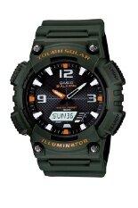 ราคา Casio นาฬิกาข้อมือผู้ชาย สายเรซิ่น รุ่น Aq S810W 3Av สีเขียวเข้ม ใหม่ ถูก