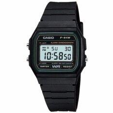 ซื้อ Casio นาฬิกาข้อมือชาย หญิง สีดำ เขียว สายยาง รุ่น F 91W 3Dg ออนไลน์