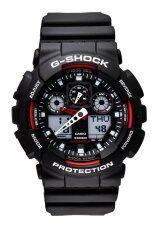 ขาย ซื้อ ออนไลน์ Casio G Shock นาฬิกาข้อมือผู้ชาย สีดำ แดง สายเรซิน รุ่น Ga 100 1A4