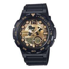 โปรโมชั่น Casio General Men S Watch Black Resin Band Gold Dial Aeq 100Bw 9A 100M World Time Digital Analog Sports Watch Intl