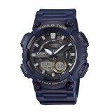 ส่วนลด Casio General Men S Watch Blue Resin Band Aeq 110W 2A 100M World Time Digital Analog Sports Watch Intl Casio ใน ฮ่องกง