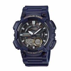 ขาย Casio General Men S Watch Blue Resin Band Aeq 110W 2A 100M World Time Digital Analog Sports Watch Intl Casio ออนไลน์