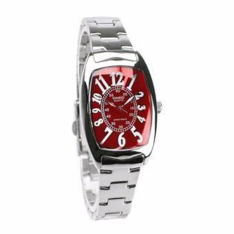 Casio นาฬิกาข้อมือผู้หญิง สายสแตนเลส รุ่น LTP-1208D-4B - Silver/Red   รับประกันศูนย์ 1 ปี   ของแท้