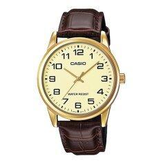 ขาย Casio นาฬิกาข้อมือชาย สีน้ำตาล สายหนัง รุ่น Mtp V001Gl 9Budf ใหม่