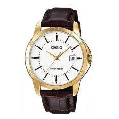 ราคา Casio นาฬิกาข้อมือ สายหนัง สีดำน้ำตาล ทอง รุ่น Mtp V004Gl 7Audf Casio ไทย