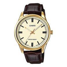 ราคา Casio นาฬิกาข้อมือผู้ชาย สีน้ำตาล ทอง สายหนัง รุ่น Mtp V005Gl 9Audf Casio