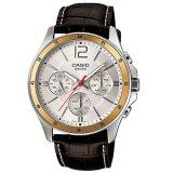 ราคา Casio นาฬิกาข้อมือผู้ชาย สีน้ำตาลเข้ม สายหนัง รุ่นT Mtp 1374L 7Avdf ใหม่