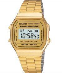 ราคา Casio นาฬิกาข้อมือผู้หญิง สายสแตนเลส รุ่น A168Wg 9W Gold ใหม่ล่าสุด