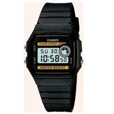 ขาย Casio Standard นาฬิกาข้อมือผู้ชาย สีดำ เหลือง สายเรซิ่น รุ่น F 94Wa 9Dg Casio