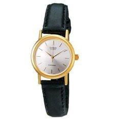 ขาย Casio Standard นาฬิกาข้อมือผู้หญิง สีเงิน สายหนังสีดำ รุ่น Ltp 1095Q 7A ใหม่