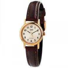 Casio Standard นาฬิกาข้อมือผู้หญิง สีทอง สายหนังสีน้ำตาล รุ่น Ltp 1095Q 9B1 เป็นต้นฉบับ
