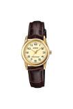 ราคา Casio Standard นาฬิกาข้อมือผู้หญิง สายหนัง รุ่น Ltp V001Gl 9Budf หน้าทอง ใหม่ ถูก
