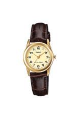 ราคา Casio Standard นาฬิกาข้อมือผู้หญิง สายหนัง รุ่น Ltp V001Gl 9Budf หน้าทอง เป็นต้นฉบับ