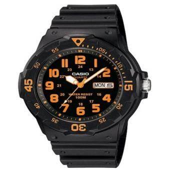 Casio Standard นาฬิกาข้อมือ สีดำ/สีส้ม สายเรซิ่น รุ่น MRW-200H-4BVDF-