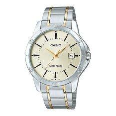 ราคา Casio Standard นาฬิกาผู้ชาย สายสเเตนเลส รุ่น Mtp V004Sg 9A Silver Gold ใหม่