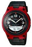 ราคา Casio Standard นาฬิกาข้อมือผู้ชาย สีดำ แดง สายเรซิ่น รุ่น Aw 80 4B ใหม่