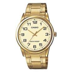 Casio Standard นาฬิกาข้อมือผู้ชาย สีทอง สายสเเตนเลส รุ่น Mtp V001G 9B เป็นต้นฉบับ