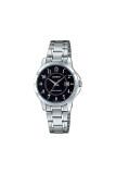 Casio Standard นาฬิกาข้อมือสุภาพสตรี สายสแตนเลส รุ่น Ltp V004D 1Budf เรือนเงิน หน้าดำ Casio ถูก ใน พะเยา