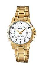 ราคา Casio Standard นาฬิกาข้อมือสุภาพสตรี สายสแตนเลส รุ่น Ltp V004G 7Budf เรือนทอง หน้าขาว ใน พะเยา