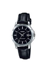 Casio Standard นาฬิกาผู้หญิง สายหนัง รุ่น Ltp V004L 1A Black เป็นต้นฉบับ