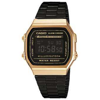 Casio VINTAGE BLACK & GOLD A168WEGB-1BEF Unisex Collection Black Steel Bracelet Watch