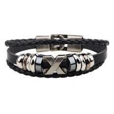 โปรโมชั่น Ce Leather Bracelet X Letter Retro Bracelet Stainless Steel Accessories Bracelet Leather Necklace Couple Bracelet Men S Bracelet Punk Bracelet Black Intl Ce ใหม่ล่าสุด