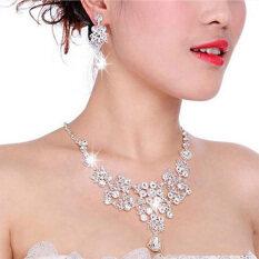 ราคา เสน่ห์สาวแต่งงานสร้อยคอต่างหูเครื่องประดับพลอยคริสตัลชุบชุดขาว ใหม่ ถูก