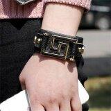 ซื้อ Cheer Stylish Pu Men Women Bracelet Leather Rivet Bracelet Punk Style Jewelry Black Intl ใหม่