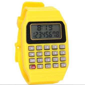 เด็กนาฬิกาเด็กซิลิโคนวันที่มีวัตถุประสงค์หลายเครื่องคิดเลขอิเล็กทรอนิกส์นาฬิกาข้อมือ (สีเหลือง)-สนามบินนานาชาติ