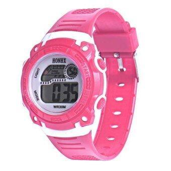 เด็กสาวตกใจแบบ Led ผลึกนาฬิกาข้อมือกีฬาวันสีชมพู