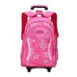 Children Trolley Sch**l Bag Backpack Wheeled Sch**l Bag For Grils Kids Wheel Schoolbag Student Backpacks Bags Rose Intl เป็นต้นฉบับ