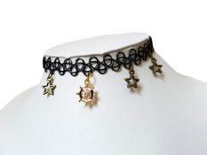 ส่วนลด สินค้า Choker Fashion Popular โชคเกอร์ สีดำ ดาว 4 ดวง จี้ทองน่ารัก วัสดุนิ่ม