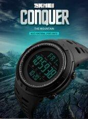 ราคา แบรนด์นาฬิกาผู้ชายนับถอยหลังเวลาสองนาฬิกาปลุก Chrono ดิจิตอลนาฬิกาข้อมือ 50 เมตรกันน้ำ Relogio Masculino 1251 นานาชาติ Bounabay ใหม่