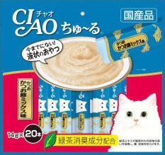 CIAO Chu-ru ขนมแมวเลีย รสปลาทูน่าปลาโอแห้ง ขนาด 14 กรัม x 20 ซอง