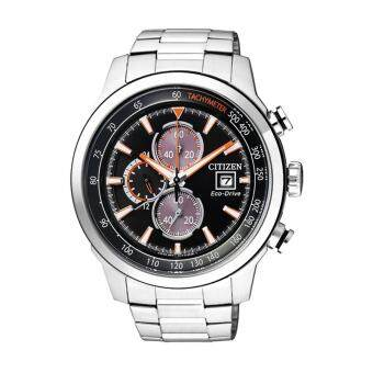 CITIZEN Eco-Drive Chronograph Men's Watch Silver/Black-Orange Stainless Strap รุ่น CA0574-54E