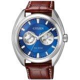 Citizen Eco Drive Mens Watch Blue Dial Leather Multifunction Bu4011 11L ใหม่ล่าสุด