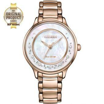 CITIZEN Eco-Drive Silhouette Diamond นาฬิกาข้อมือ ผู้หญิง Stainless Strap EM0382-86D - PinkGold Pearl