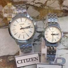 ราคา Citizen นาฬิกาข้อมือคู่ ผู้ชาย และ ผู้หญิง Quartz รุ่น Bf2011 51A และ Eq0601 54A Silver White Citizen เป็นต้นฉบับ