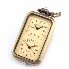 โปรโมชั่น Classic Retro Bronze Rectangle Dial Dual Time Zone Movement Pocket Watch Men Lady Jewelry Watches Fob Chain Travel Gift Wpk040 นาฬิกาข้อมือ ชายและหญิง Intl Weipeng ใหม่ล่าสุด