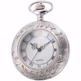 ราคา Classic Silver White Roman Numerals Hollow Case Hunter Quartz Men Craft Pendant Fob Chain Clip Pocket Watch Jewelry Clock Wpk180 Intl ออนไลน์