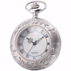 ราคา Classic Silver White Roman Numerals Hollow Case Hunter Quartz Men Craft Pendant Fob Chain Clip Pocket Watch Jewelry Clock Wpk180 Intl เป็นต้นฉบับ