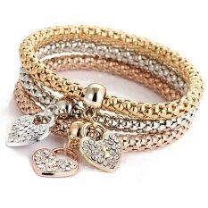 Classic Women 3pcs Gold Silver Rose Gold Bracelets Set Rhinestone Bangle Jewelry - Intl