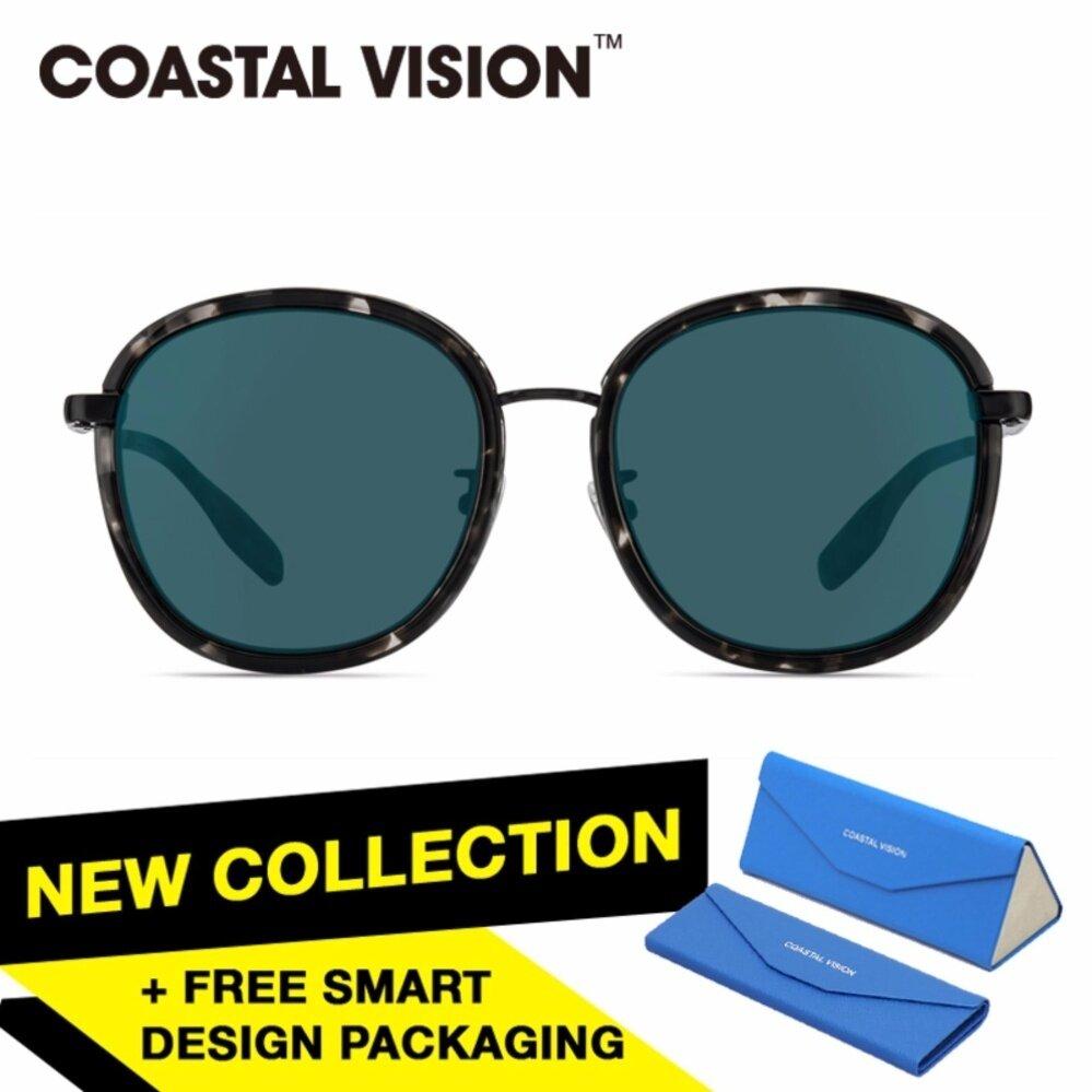 ส่วนลด Coastal Vision แว่นกันแดดสำหรับผู้หญิง กรอบทรงกลมสีดำลายกระ เลนส์ป้องกันรังสี Uv400 สีน้ำเงิน Cvs6412Bk Coastal Vision