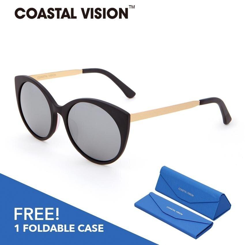 โปรโมชั่น Coastal Vision แว่นกันแดดโพลาไรซ์สำหรับผู้หญิง กรอบทรงตาแมวสีดำและทอง เลนส์ป้องกันรังสี Uva B Cvs5021 สมุทรปราการ