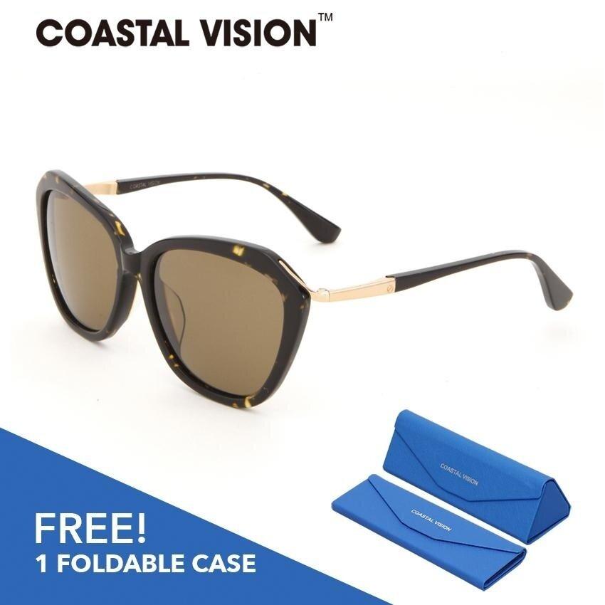 ขาย Coastal Vision แว่นกันแดดโพลาไรซ์สำหรับผู้หญิง กรอบทรงตาแมวสีน้ำตาล เลนส์ป้องกันรังสี Uva B Cvs5028 ใน ฮ่องกง