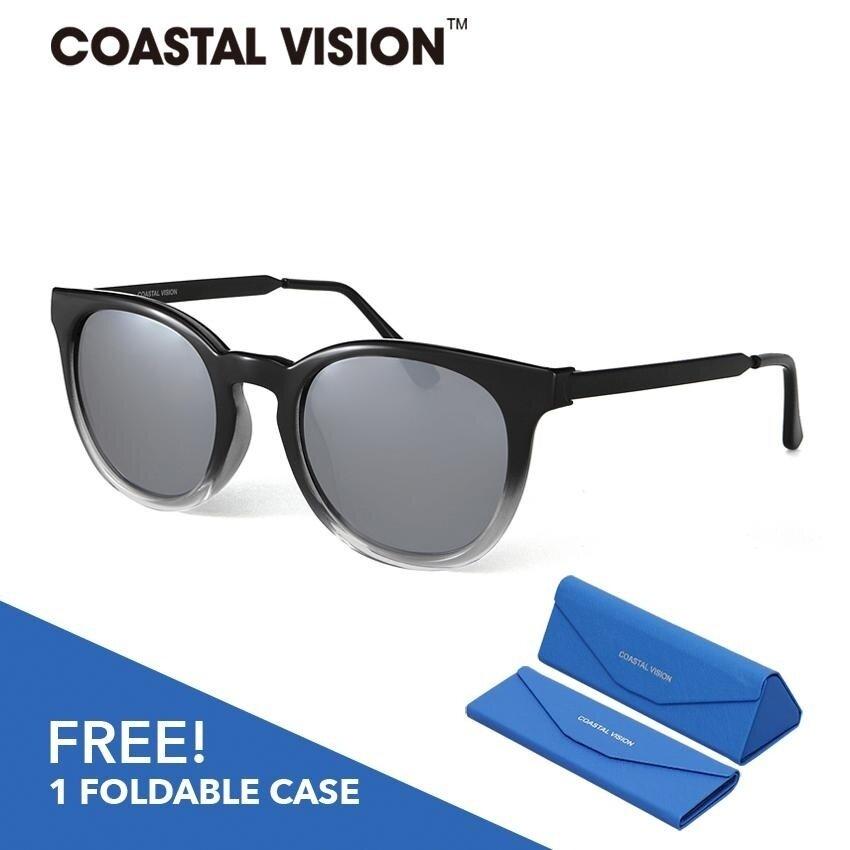 ราคา Coastal Vision แว่นกันแดดโพลาไรซ์สำหรับผู้หญิง กรอบทรงกลมสีดำ เลนส์ป้องกันรังสี Uva B Cvs5827 เป็นต้นฉบับ Coastal Vision