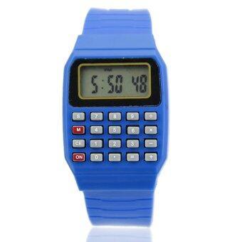 Cocotina เด็กหนุ่มสาวสายซิลิโคนเครื่องคิดเลขนาฬิกาข้อมืออิเล็กทรอนิกส์วันที่ปรับได้-สีน้ำเงิน