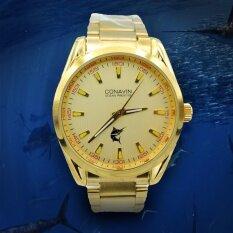 ราคา ราคาถูกที่สุด Conavinนาฬิกาข้อมือผู้ชายStainlessสีทองรุ่นCm 7013M