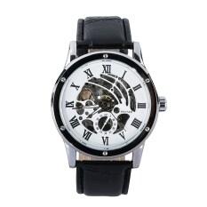 ขาย Cool Winner Unisex Black Leatherhand Wind Up Mechanical Casual Wrist Watch Intl ผู้ค้าส่ง